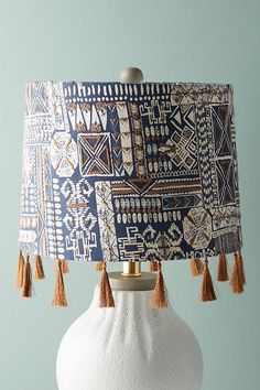 Slide View: 1: Fringed Nurata Lamp Shade