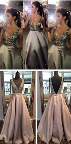 Gray Prom Dresses,Silver Grey Prom Dress,Sexy Prom Dress,Sequined Prom Dresses,2017 Formal Gown,Evening Gowns,A Line Party Dress,Sequin Prom Gown For Teens Deep V-neck Open Back Long Prom Dresses Pret