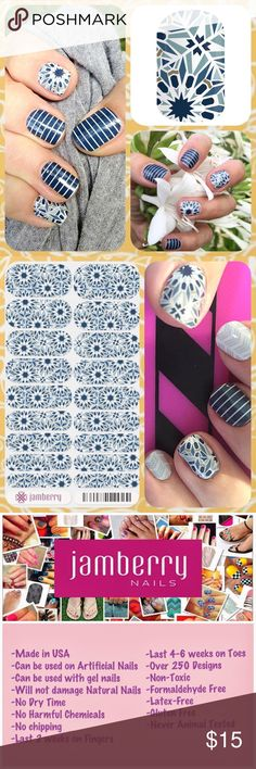 "JAMBERRY Blue Abstract Vinyl Manicure Nail Wraps ❤️❤️ 1 Full Sheet of Jamberry Vinyl Nail Wraps in the style ""Fractal"" - a fun abstract print in different hues of blue. Glossy Finish. Regular/ Adult size. Enough for up to 2 manicures + 2 pedicures + many accent nails. PRICE FIRM unless bundled. Need other colors? Please visit my Posh closet! ❤️❤️.          **Bundle 2 or More Items and Save 15% Off Automatically!  ** Jamberry Other"