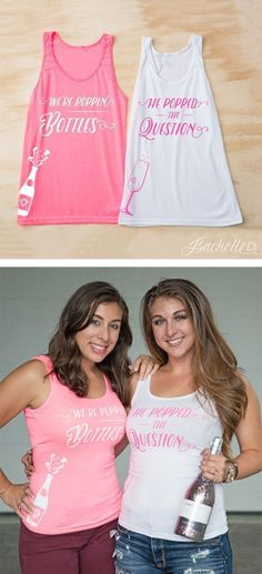 He Popped the Question, We're Poppin' Bottles! Loving these champagne theme bachelorette party shirts for the bachelorette party! | Bachelorette Party Ideas on A Budget #weddingplanningonabudget