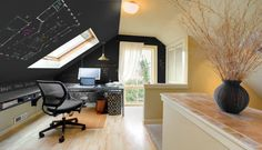 If you're looking for design & layout ideas for your home office, then this article will help you. Modern home office design ideas are for small & big room. Attic Renovation, Attic Remodel, Attic Rooms, Attic Spaces, Attic Playroom, Attic Bathroom, Garage Attic, Attic House, Attic Apartment