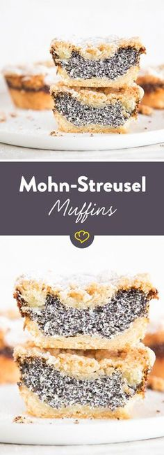 Klein und rund statt groß und eckig: Mohn-Streusel-Muffins Do you like poppy seed cake from a tin? Then you will love the handy mini version of the classic! Small cakes with tender shortcrust pastry, Streusel Muffins, Mini Muffins, Cupcake Recipes, Baking Recipes, Dessert Recipes, Muffins Double Chocolat, Cake Cookies, Cupcakes, Poppy Seed Cake