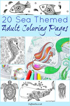 Relax and enjoy these beautiful sea themed adult coloring pages. Gorgeous ocean designs for you to download.