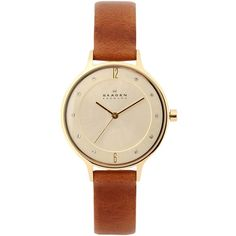 Skagen Denmark Wrist Watch ($215) ❤ liked on Polyvore featuring jewelry, watches, accessories, brown, skagen jewelry, skagen wrist watch, brown jewelry, skagen and brown watches