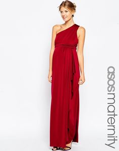 Buy ASOS Maternity WEDDING Slinky Maxi Dress With One Shoulder at ASOS. Get the latest trends with ASOS now. Asos Maternity, Maternity Tops, Maternity Wedding, Maternity Dresses, Maternity Fashion, Pregnant Wedding, Wedding Guest Style, Going Out Outfits, Pregnancy Outfits