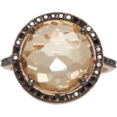 Suzanne Kalan Rose Gold Champagne Topaz and Black Diamond Ring (4 410 LTL) ❤ liked on Polyvore