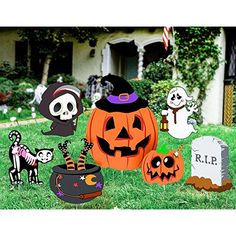 Unomor Halloween Yard Decorations Outdoor Skeleton Ghost Pumpkin Yard Signs 7 pc for sale Halloween And More, Outdoor Halloween, Halloween House, Kawaii Halloween, Halloween Crafts, Halloween Ideas, Halloween Party, Scary Pumpkin, Ghost Pumpkin