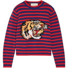 Gucci Appliquéd intarsia wool sweater (120.840 RUB) ❤ liked on Polyvore featuring tops, sweaters, gucci, red dog sweater, red wool sweater, colorful sweaters, multi colored striped sweater and flower sweater