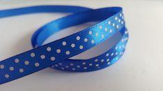 3m Ribbon - Printed Satin - 10mm - Polka Dot - Royal Blue