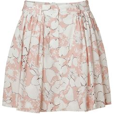 CACHAREL Rose/Ecru Floral Print Pleated Skirt ($175) ❤ liked on Polyvore featuring skirts, bottoms, saias, faldas, cream skirt, mid thigh skirts, floral a line skirt, pale pink skirt and cream floral skirt