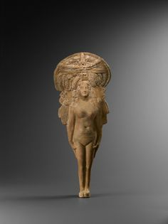 Goddess Aphrodite, worshiped as Isis in ancient Egypt, Ptolemaic Period, 305-30 BC, terracotta polychrome
