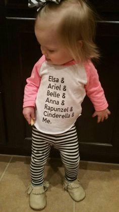 Princess Shirt - Disney Shirt - Disney Princesses - Girls Shirt - Baby Girls Shirt - Disney World - Disneyland - Kids Shirt - Raglan Shirt by MadieAndQuinn Baby Girl Shirts, Shirts For Girls, Baby Girls, Kids Girls, Disney Shirts, Estilo Disney, Elsa, Princess Girl, Princess Disney