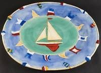 Zrike Maritime Collection 19 Oval Serving Platter, Fine China Dinnerware - Blue/Green Nautical,Boats,Lighthouses