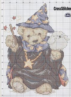 Cross-stitch Wizard Teddy.. link for color chart & finished look.. Color Chart.. http://gallery.ru/watch?ph=bA3r-eldgk#feature=topclick Finished Look.. http://gallery.ru/watch?ph=bA3r-eldgg#feature=topclick
