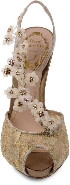 For the Bride: Rene Caovilla Gold Satin Lace Heels … | Heel Hierachy) #weddings #shoes #hawaiiprincessbrides