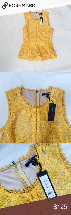 Romeo + Juliet lace peplum top Couture top. Never worn. Beautiful sunflower yellow. Lace detail makes it a blouse. Romeo & Juliet Couture Tops Tank Tops