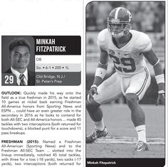 Minkah Fitzpatrick - from the 2016 Alabama Football Media Guide #Alabama #RollTide #BuiltByBama #Bama #BamaNation #CrimsonTide #RTR #Tide #RammerJammer #2016AlabamaFootballMediaGuide