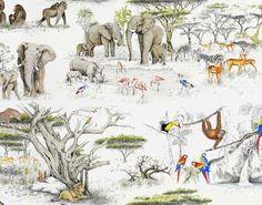 Pierre Frey Masai Mara Behang Les Dessins 2 - Luxury By Nature Old Wallpaper, Print Wallpaper, Original Wallpaper, Animal Wallpaper, Wildlife Wallpaper, Pierre Frey, Reserva Natural, Art Antique, Vintage Graphic Design