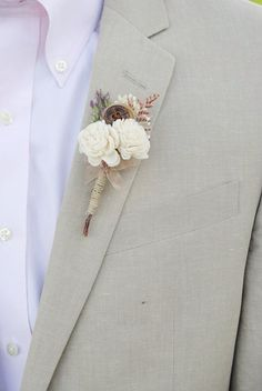 Rustic Boutonniere- Groom and groomsmen boutonniere, Sola Flower, Button, Wedding Flowers on Etsy, $15.00