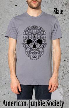 Sugar Skull Shirt'__Boyfriend Gift()Instagram Like~festival clothes Tumblr Grunge Tees Screenprint tshirt most popular item graphic tee by AmericanJunkieSoc on Etsy https://www.etsy.com/listing/191752162/sugar-skull-shirtboyfriend-giftinstagram