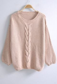 #SheInside Pink Round Neck Long Sleeve Loose Embroidery Sweater