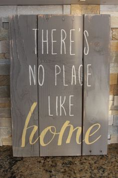 There's No Place Like Home Rustic Wood Sign by signedbyBecky