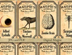 Halloween printable apothecary labels for jars bottles tags