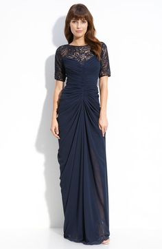 Tadashi Shoji Beaded Ruched Chiffon & Mesh Gown available at #Nordstrom