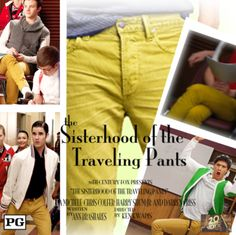 """Best friends Rachel (Lea Michele), Kurt (Chris Colfer), Mike (Harry Shum Jr.), and Blaine (Darren Criss) hatch a plan to stay connected with one another as their lives start off in different directions: they pass around a pair of secondhand mustard pants that fits each of them perfectly."""
