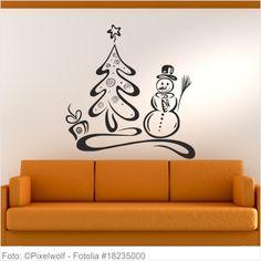 Wandtattoo Weihnachten - Schneemann mit Tannenbaum