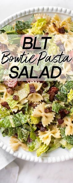 This easy BLT bowtie pasta salad recipe has crispy bacon and a delicious creamy smoky dressing that will have everyone wanting seconds! Perfect for summer BBQs, picnics, or potlucks. Feeds a crowd! picnic food ideas for a crowd BLT Bowtie Pasta Salad Salads For A Crowd, Food For A Crowd, Taco Dip, Sloppy Joe, Orzo, Picnic Foods, Picnic Recipes, Picnic Ideas, Easy Potluck Recipes