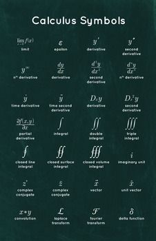 Education Discover Calculus Symbols - Math Poster by Math Posters Physics Formulas Physics And Mathematics Advanced Mathematics Math Notes Math Vocabulary Math Numbers Physical Science Math Lessons Algebra Physics Formulas, Physics And Mathematics, Quantum Physics, Advanced Mathematics, Math Notes, Math Vocabulary, Math Numbers, Physical Science, Algebra