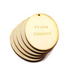 """Oster Geschenkanhänger """"Frohe Ostern"""" //  Mit diesen Oster-Geschenkanhängern aus Holz """"Frohe Ostern"""" ist Ihr Strauß oder Geschenk immer hübsch verpackt."""