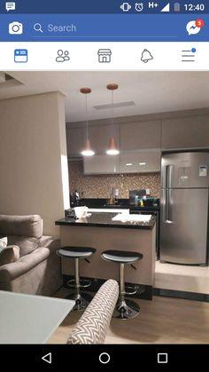 Amei os móveis da cozinha Kitchen Interior, Interior Design Living Room, Kitchen Decor, Kitchen Design, Condo Design, Apartment Design, Small Kitchen Layouts, Modern Kitchen Cabinets, Small Apartments