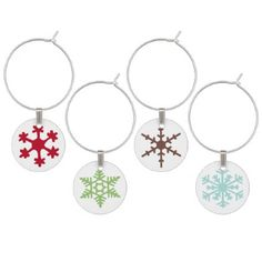 Holiday Snowflakes in Blue Green Brown & Red Wine Glass Charm - home decor design art diy cyo custom