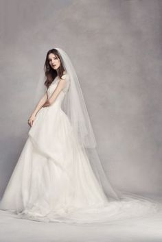 489e9461baec Two layers of soft tulle overlap to create a stunning and elegant effect on  this two tier cathedral length veil. White by Vera Wang, exclusively at  David\'s ...