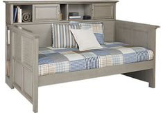 Belmar Gray 4 Pc Bookcase Daybed - Rooms to Go Puerto Rico Rooms To Go Furniture, Bedroom Furniture Stores, Furniture Ideas, Flip Furniture, Furniture Design, Daybed Room, Daybed With Trundle, Grey Bedding, Luxury Bedding