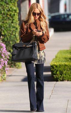 Rachel Zoe-flare jeans-Hermes bag