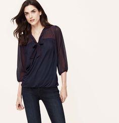 LOVING!!  Will be adding to my Fall/Winter 2014 wardrobe soon.  Rain Dot Tie Neck Blouse | Loft