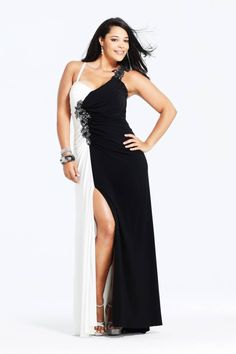 33adf5e48651f Stylish Sexy Black and White Chiffon Plus Size Evening Dresses with Split  Front by Christine Van