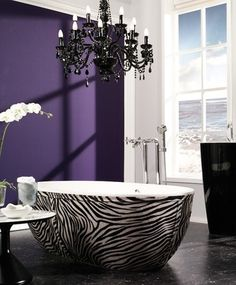 Zebra Stone Tub With Deep Purple Wall.  OMG, have you seen this tub?  I die.