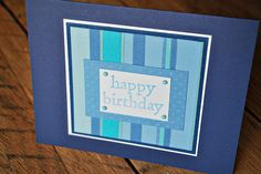 Simple Striped Birthday Card for a Man