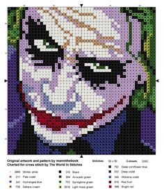 """theworldinstitches: """"The Joker cross stitch chart. Adapted with permission from the original perler pattern by the wonderful maninthebook on kandipatterns.com """""""