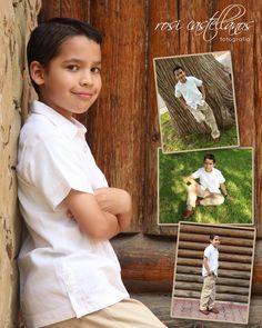 Comunión de niño en parque, me encanta la combinación de los colores verdes con la ropa blanca del niño!