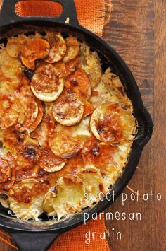 A simple potato dish with both sweet and savory notes from sweet potatoes and salty Parmesan cheese.