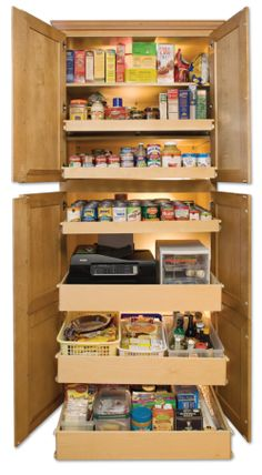 Love this pantry idea which can also be retrofitted into a smaller closet/pantry.