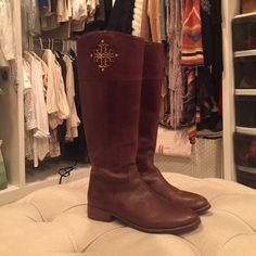 Tory Burch riding boots Worn once, great condition Tory Burch Shoes Over the Knee Boots