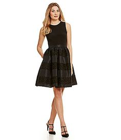 2cb47891a9 Calvin Klein Striped Fit-and-Flare Party Dress