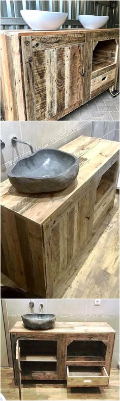 pallet rustic sink with drawers