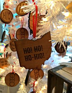 Celebrate Local, holiday ornaments (made from 400 year-old redwood which served as student bleachers at Ohio Stadium from 1920s-2000), $25, http://www.yelp.com/biz/celebrate-local-shop-the-best-of-ohio-columbus-2